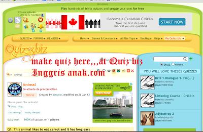 Membuat Soal Quiz Bahasa Inggris Anak via Quiz Biz