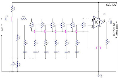 6 Graphic Equaliser Circuit 741 Op-Amp