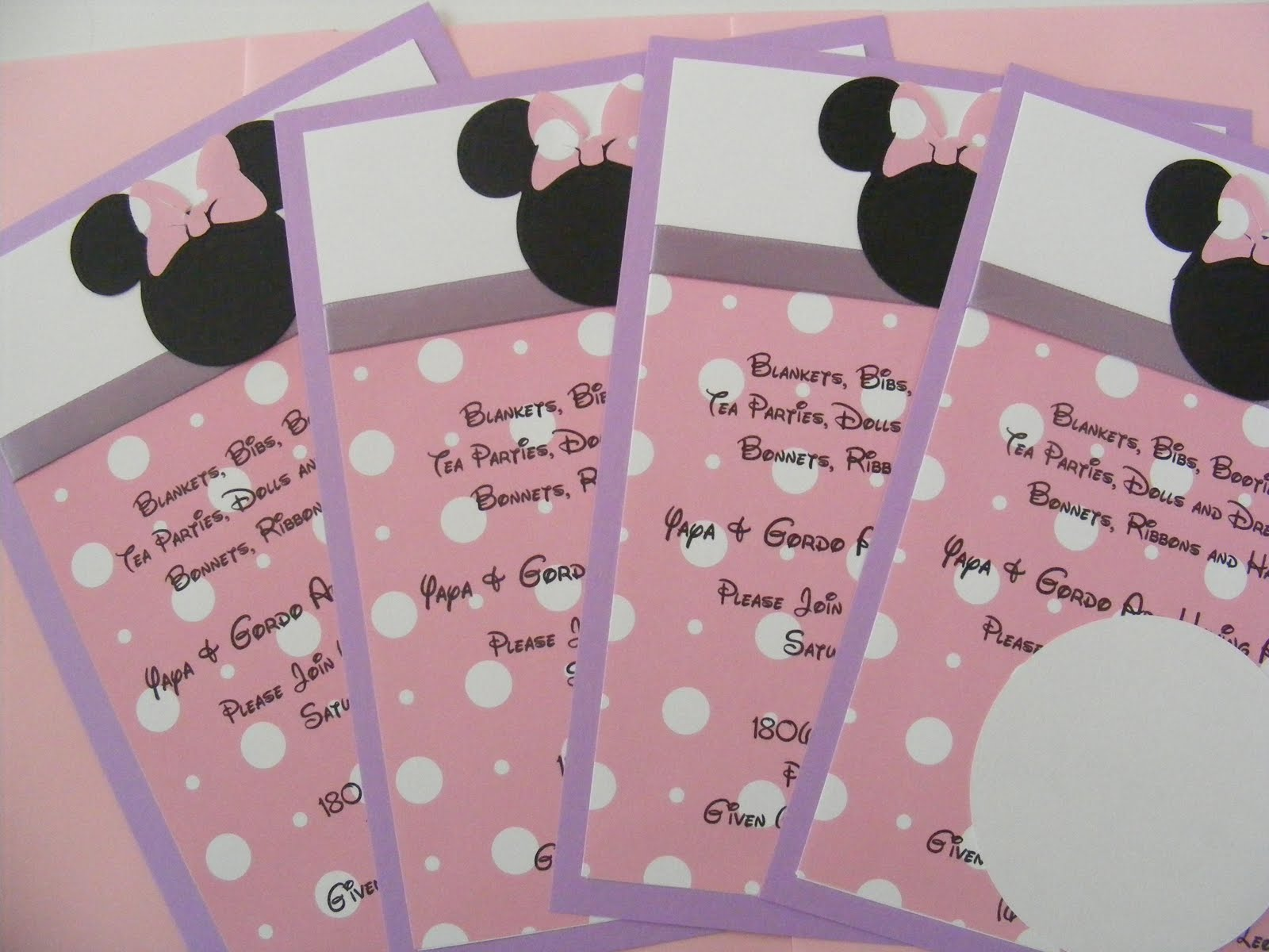 whimsical creations by ann minnie baby shower invitations pink purple