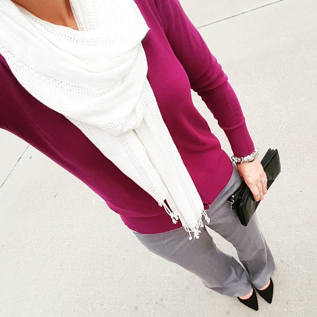 Old Navy Cardigan - only $14, regular $25! // Express Editor Pants - 50% off! // Forever 21 Scarf (similar on sale for $5, regular $11!) // Signature by Report Heels (only $27, regular $90!) // Kenneth Cole Reaction Clutch (this year's version)