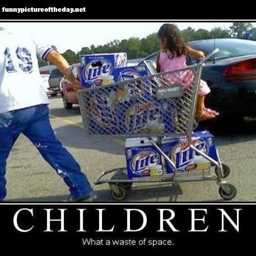 Children What A Waste of Space Funny Guy With Beer Cart Miller Lite