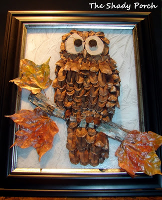 Pine cone Art: An Owl by The Shady Porch