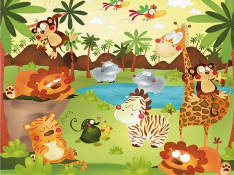 los animales salvajes de la selva: