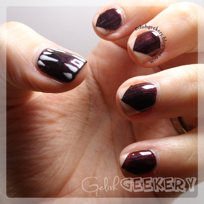 Gelish Black Matte Top It Off Nails With French Tip and Stripes
