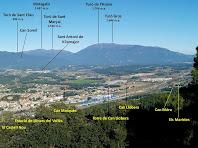 El poble de Llinars des de dalt del Castell Vell