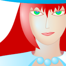 My avatar, a vector drawing of a face of a red-haired witch.