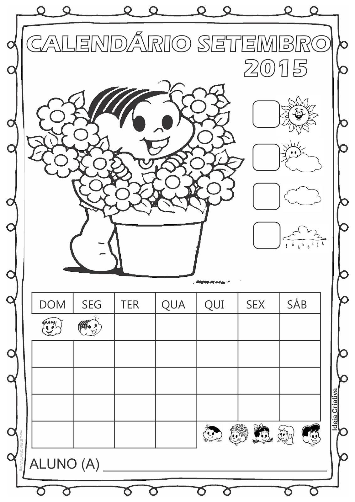 Calendário Turma da Mônica 2015 para Imprimir Grátis Setembro Primavera