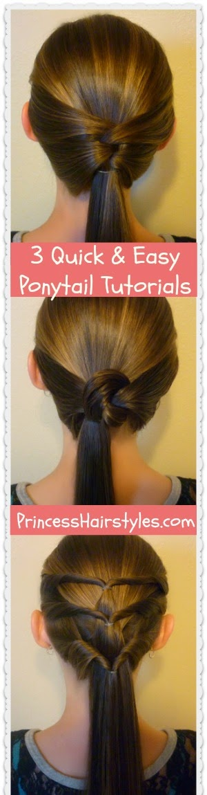 3 Quick and Easy Ponytail Hairstyles | Hairstyles For Girls - Princess Hairstyles