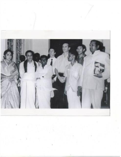 MGR, Actress Bhanumathi, 'Mellisai Mannar' M.S. Viswanathan & 'Kaviarasar' Kannadasan