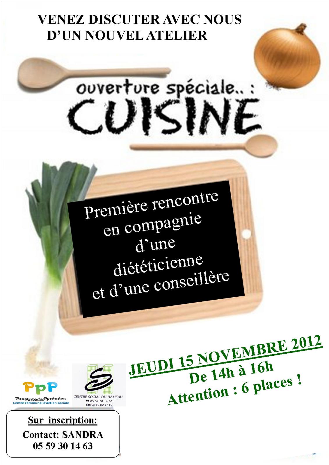 Centre social du hameau pau atelier cuisine for Ateliers cuisine