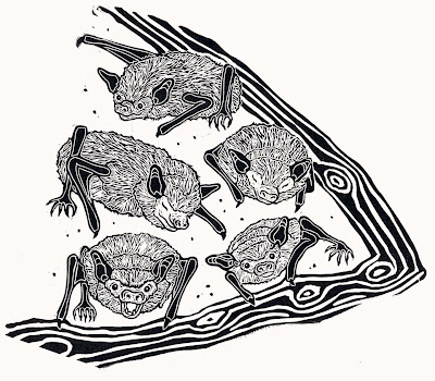 Texture adds realism to this linocut of bats