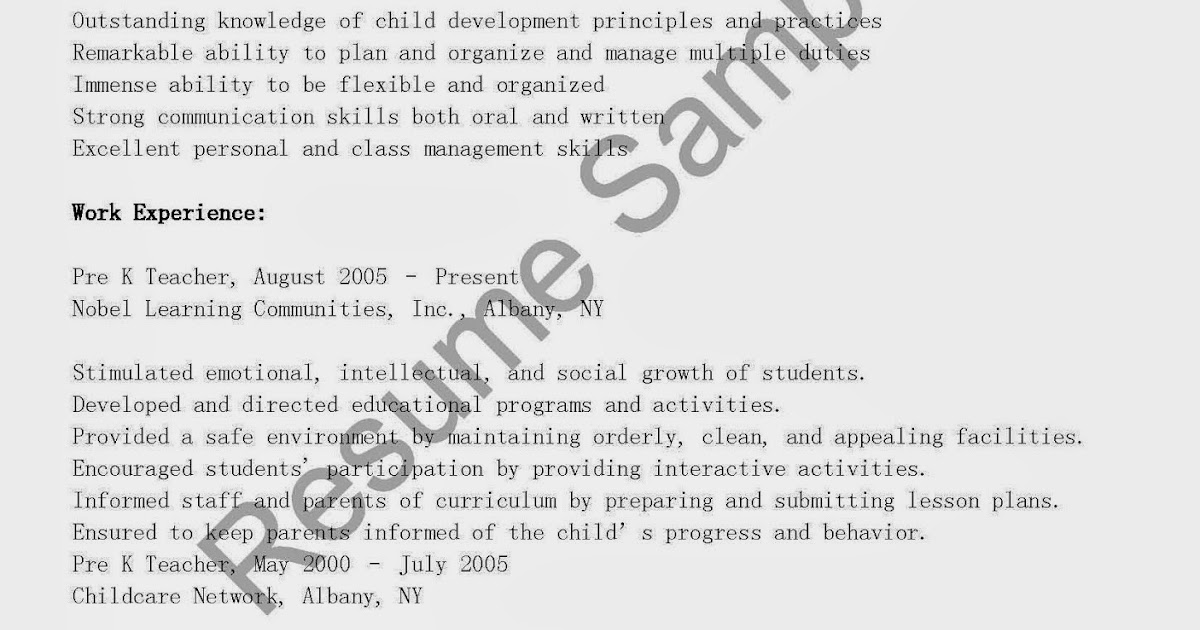 resume samples  pre k teacher resume sample