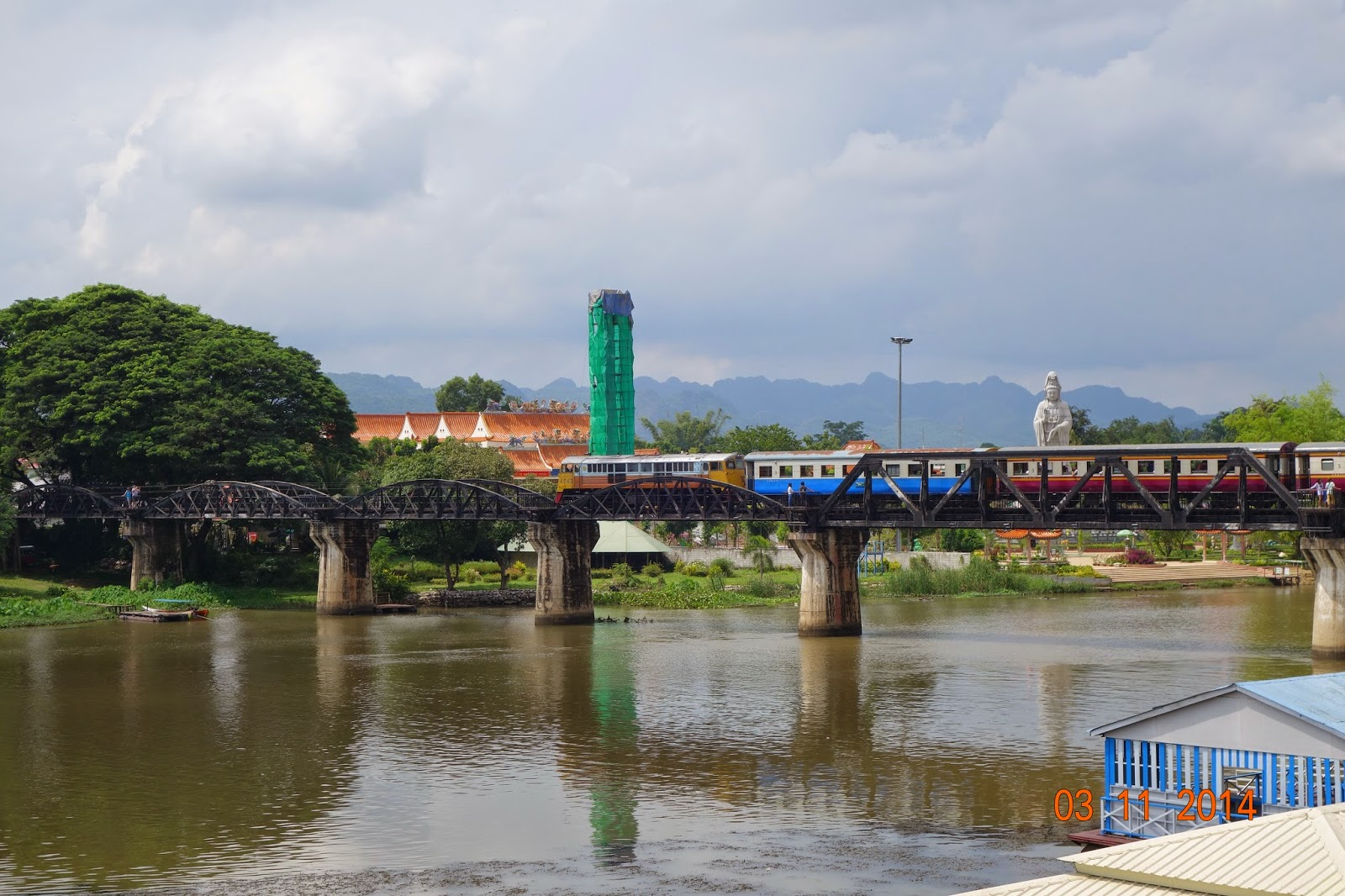 Pak Khwae Thailand  City new picture : View of bridge from War Museum with train crossing fairly new Chinese ...