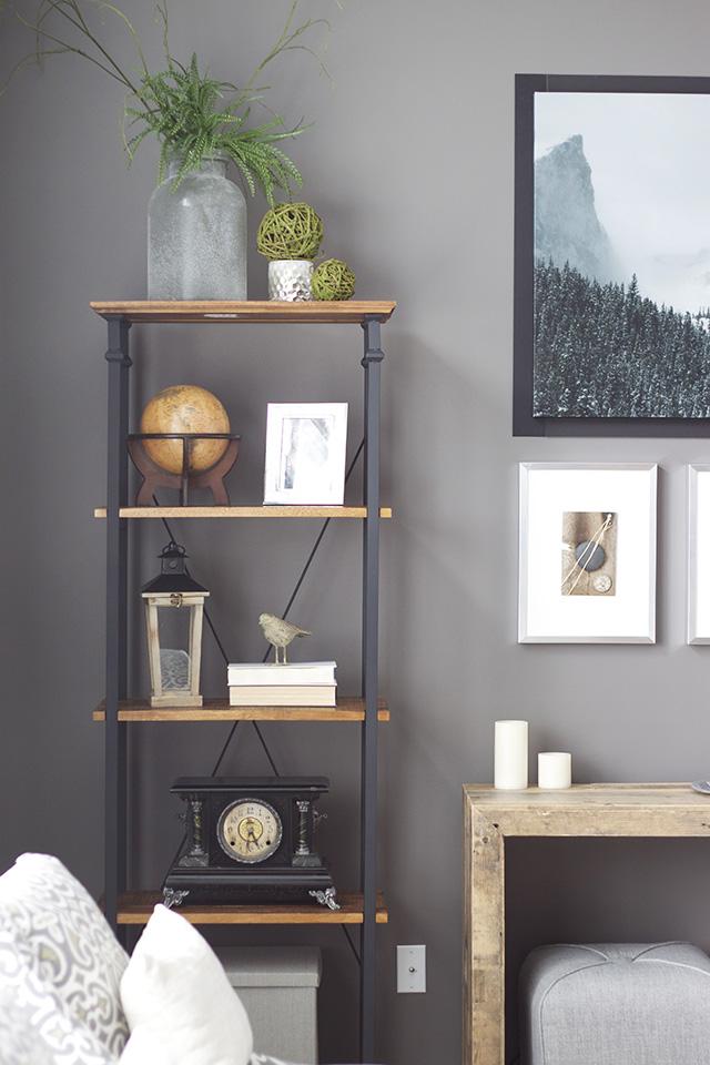 Client room bookshelf styling progress michaela noelle for B q living room shelves