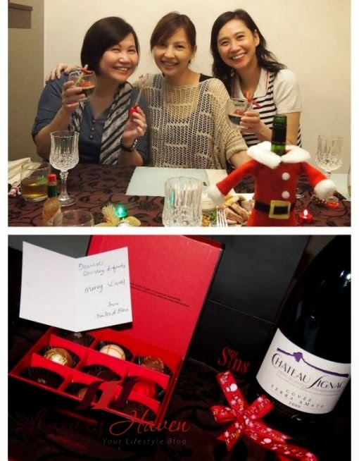 christmas party with wine and sins chocolates