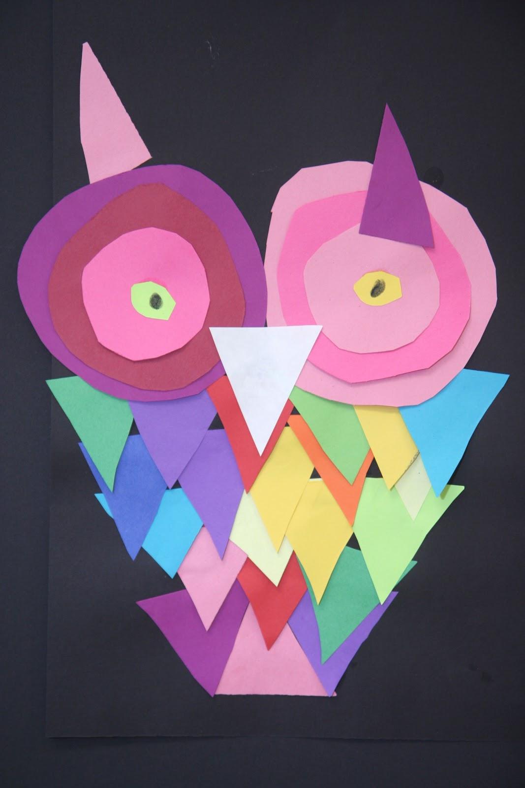 Splish splash splatter construction paper owls for Art and craft paper