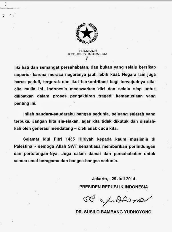 Surat SBY Mendukung Palestina Terlengkap