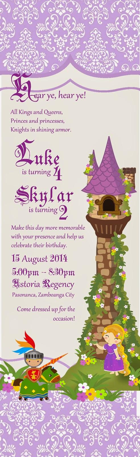 Invitation Wordings : Rapunzel + Knight party
