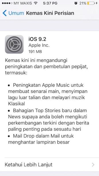 Info Kemaskini iOS 9.2 untuk iPhone, iPad dan iPod Touch