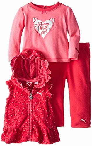 PUMA Baby-Girls Infant Printed Polar Fleece Vest Set
