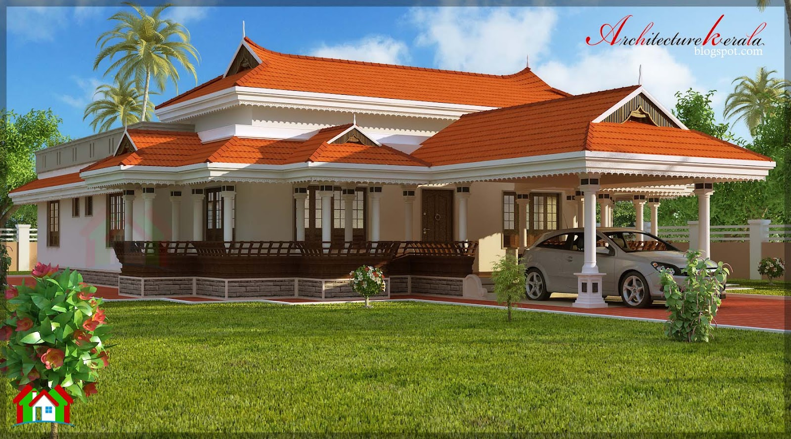 Architecture kerala 3 bhk in single floor house elevation for Kerala home plan