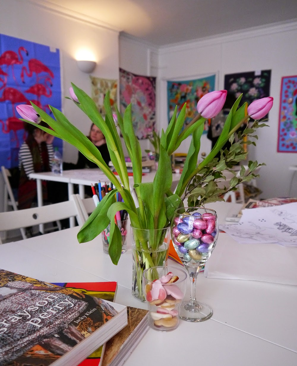 Edinburgh, Scottish Bloggers, Karen Mabon, Scraf School, Scarf Design, Hill Street Design House, sweets, tulips, inspiration, craft, design