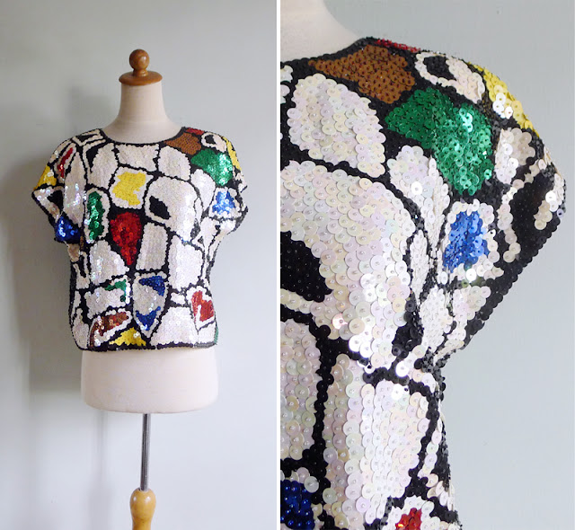 vintage 80's sequinned slouch top