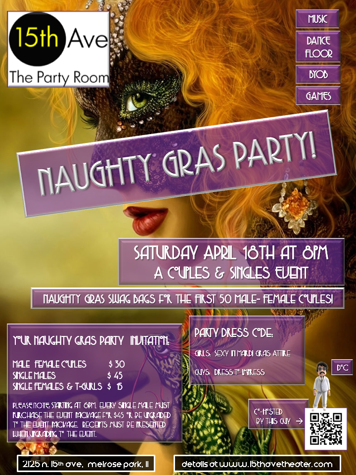 Next 15th Ave. Theater Party in Chicago: Naughty Gras Party