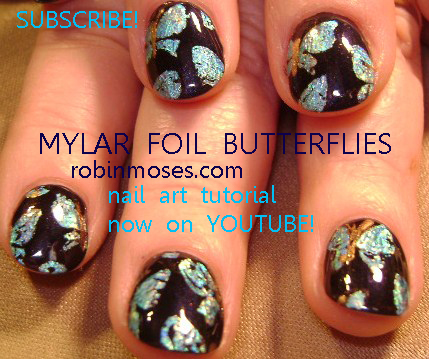 Black And Silver Mylar Foil Butterflies Nail Art Design Hibiscus