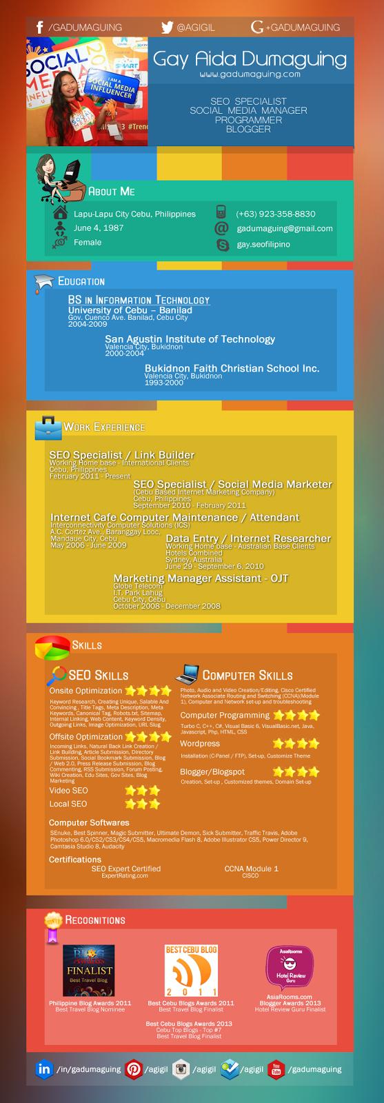 Cebu SEO Specialist Infographic Resume