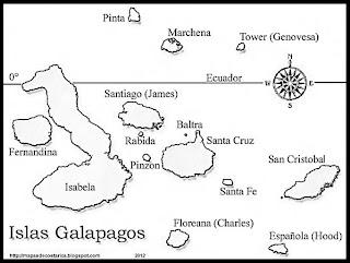 Mapa de las Islas Galápagos de ECUADOR, blanco y negro