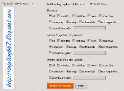 Info Blog, setting tag robot khusus