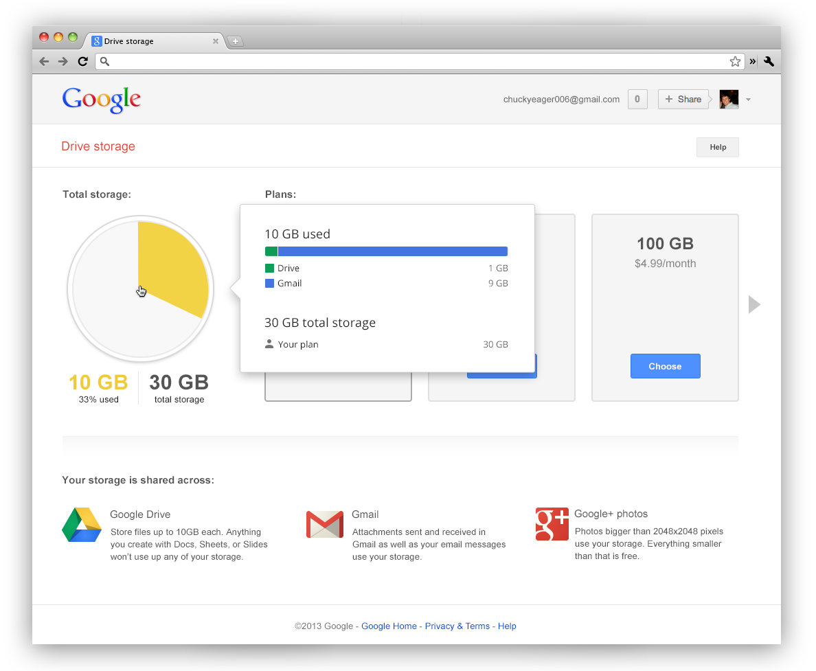 30GB of Unified Storage for Google Apps for Business customers
