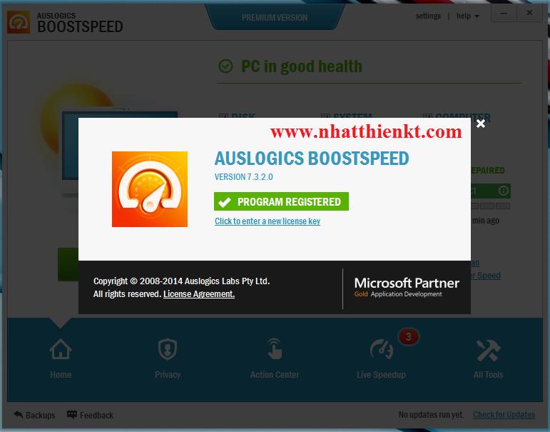 Key và link cài đặt AusLogics BoostSpeed 7.3.2.0