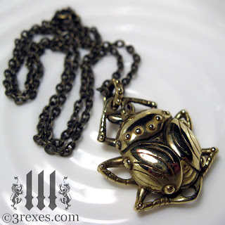 brass scarab beetle necklace with chain