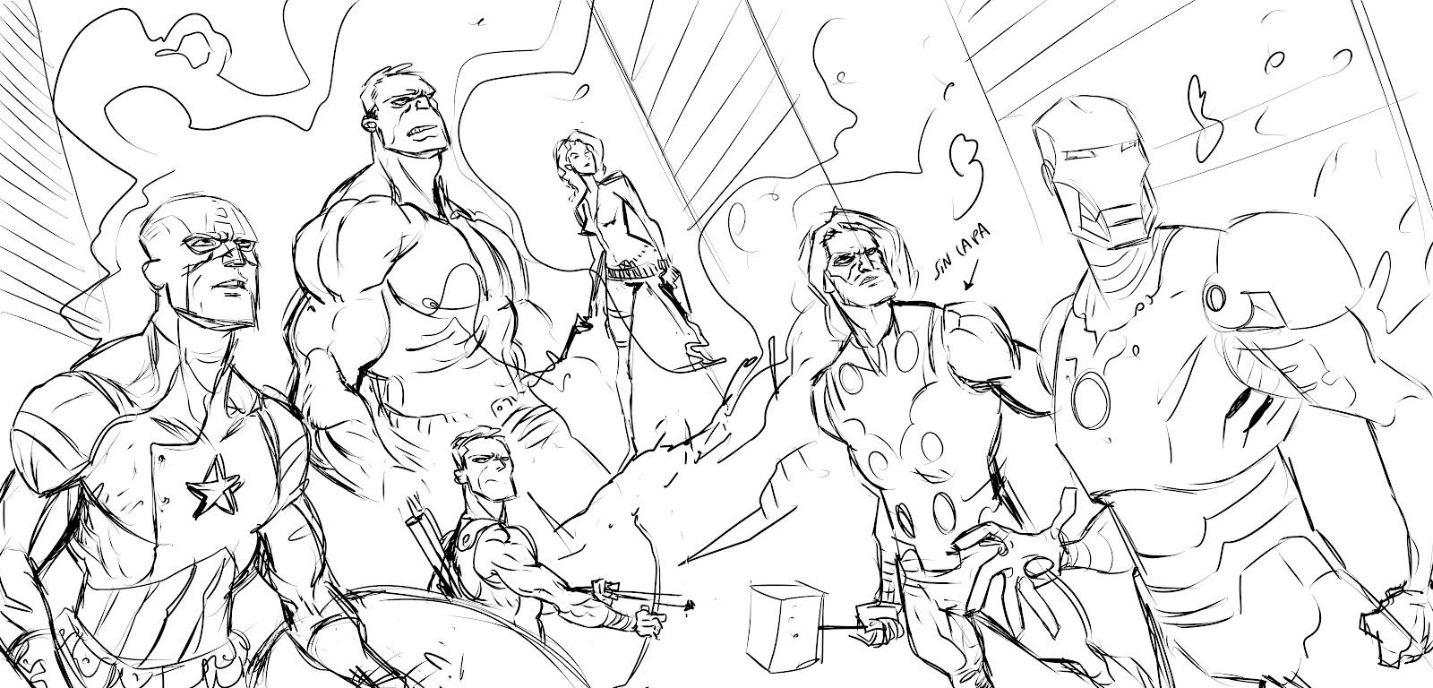 Atractivo Colorear Vengadores Ilustración - Enmarcado Para Colorear ...