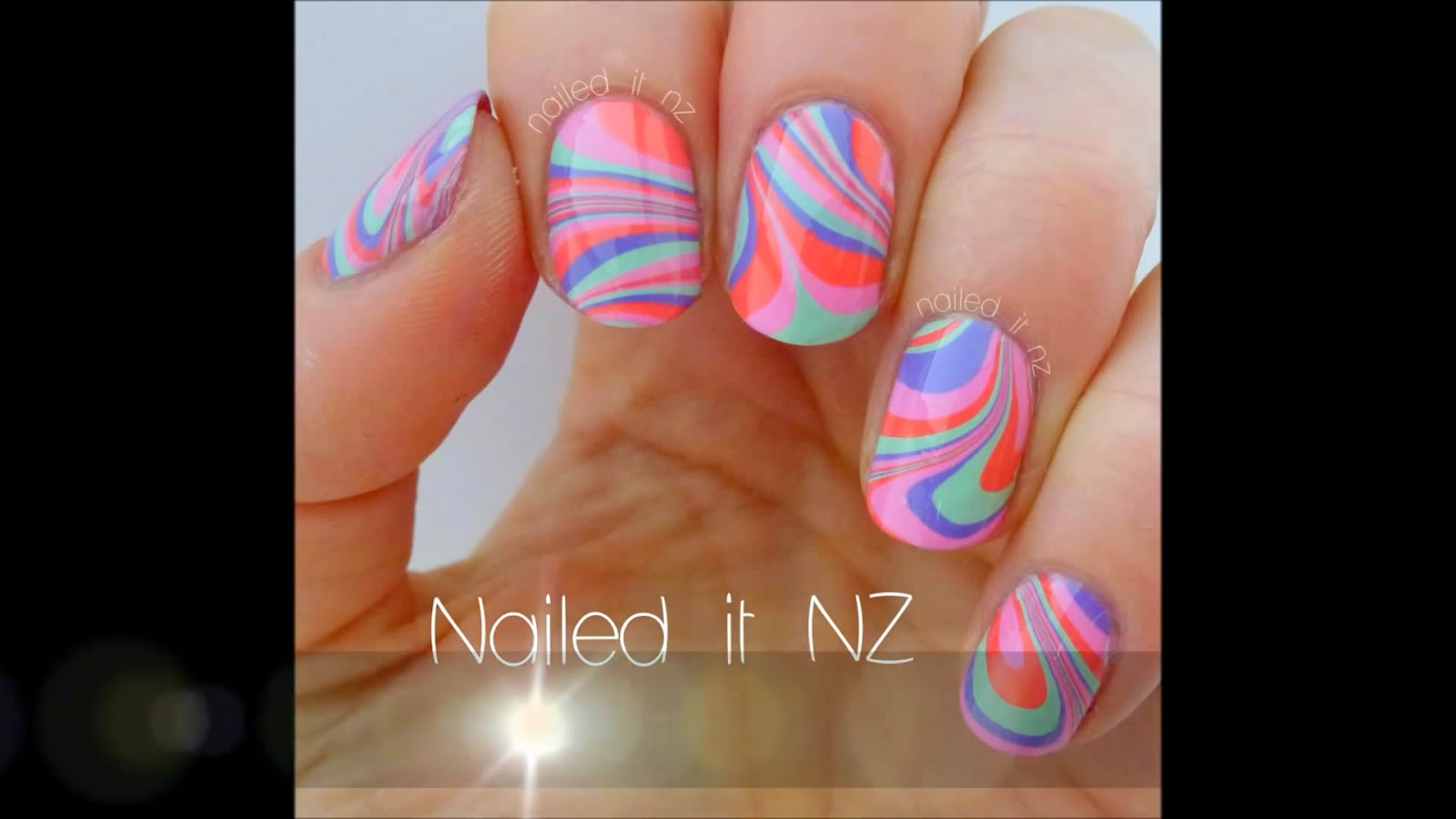 Nails Art Water Marble Style
