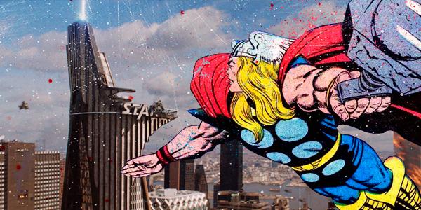 superhero comic and movie mashup thor