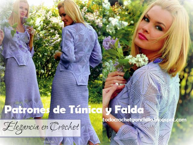 Cómo tejer tunica y falda crochet con grannys hexagonales crochet filet
