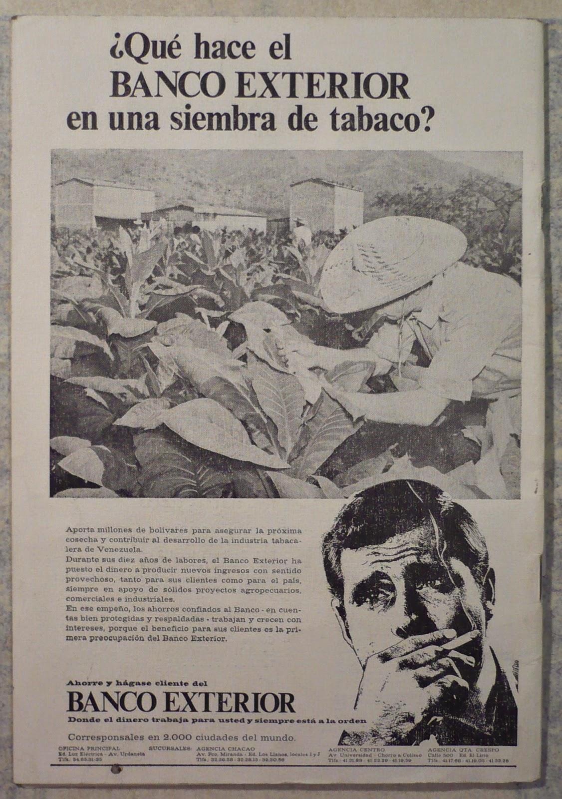 Coleccionismo de paquetes de tabaco un banco y el tabaco for Banco exterior de venezuela