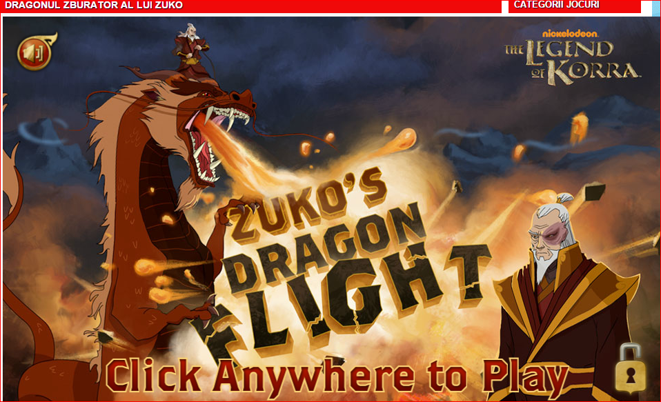 """""""Dragonul zburator al lui Zuko"""" - un joc special pentru fanii serialului de animatie """"The Legend of Korra"""""""