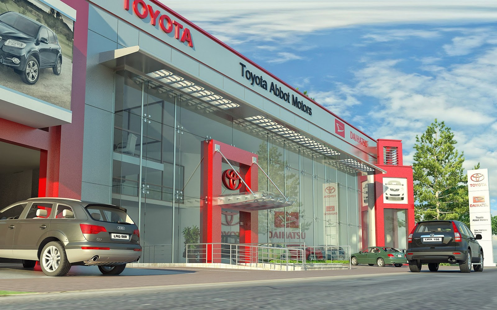Front Elevation Of Small Showroom : Toyota cars showroom d architecture visualizations