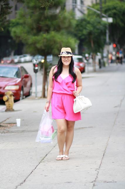 hot pink romper, ysl bag, ysl