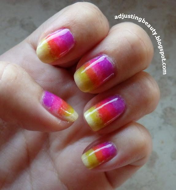 summer bright nail design - adjusting