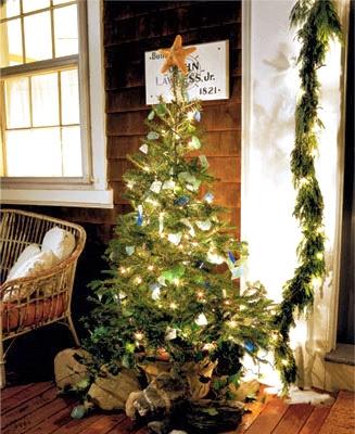 hand sea glass on Christmas tree