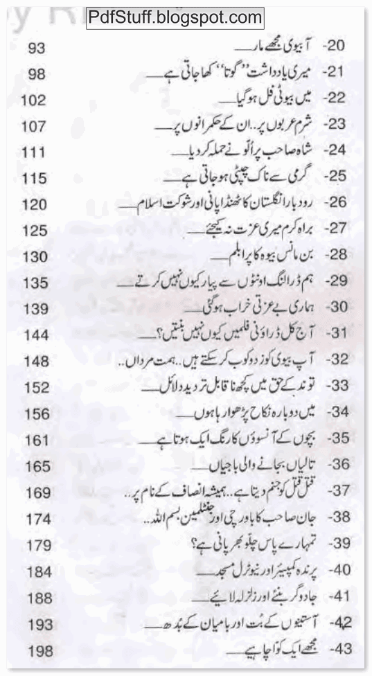Contents of Urdu book Bay Izzati Kharab by Mustansar Hussain Tarar