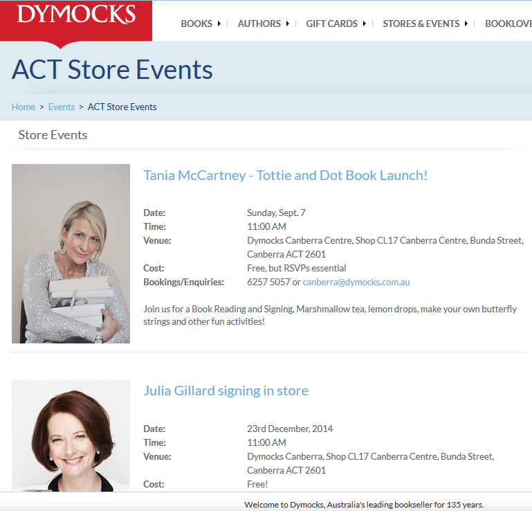 http://www.dymocks.com.au/Events/StoreEvents-ACT