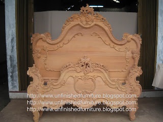 Raw wooden frame unfinished french bed