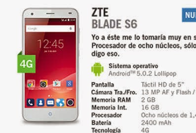 ZTE Blade S6 con Yoigo: precio y características