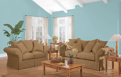 Ideas for decorating living room with blue color ideas for Sky blue living room ideas